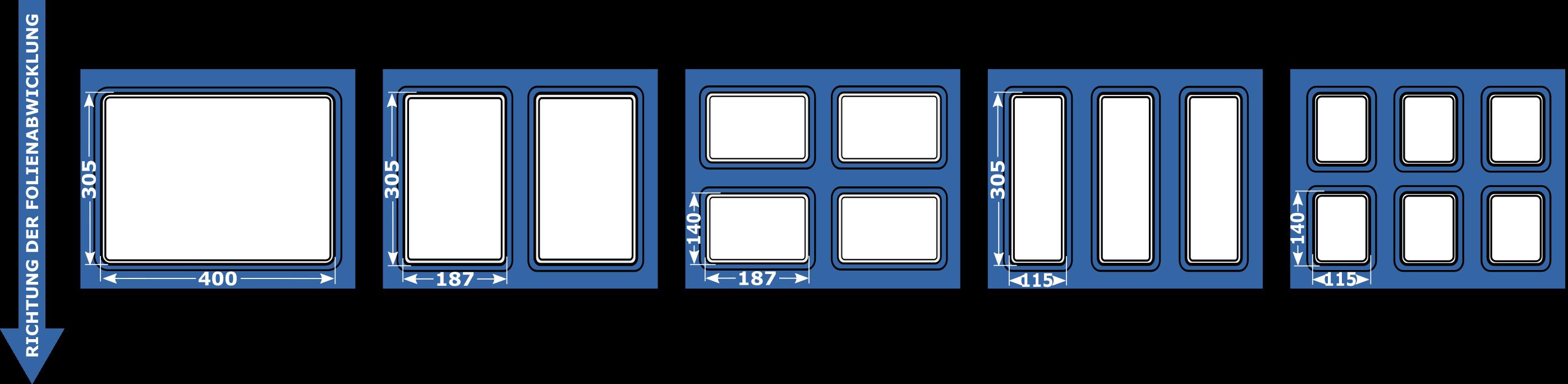Maksymalne wymiary tacek SPP6 DE